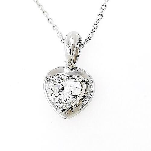 Колие от платина 900 и диамант Сърце 0.54ct