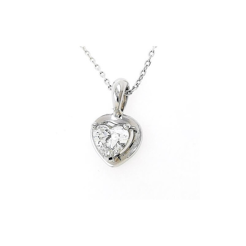 Necklace, platinium 900, diamond Heart with a weight of 0,54ct