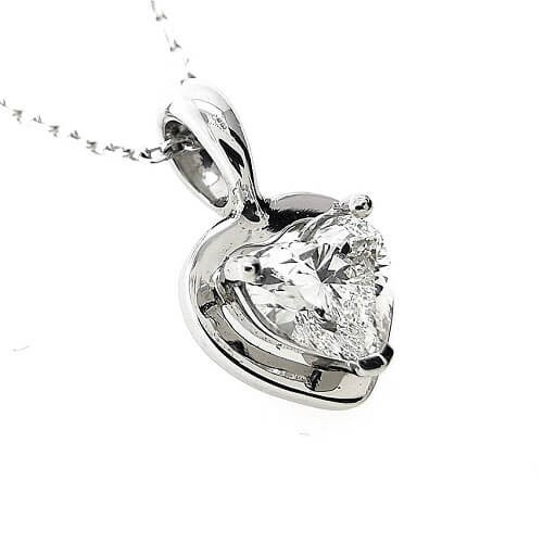Necklace, platinium 950, diamond Heart with a weight of 0,54ct