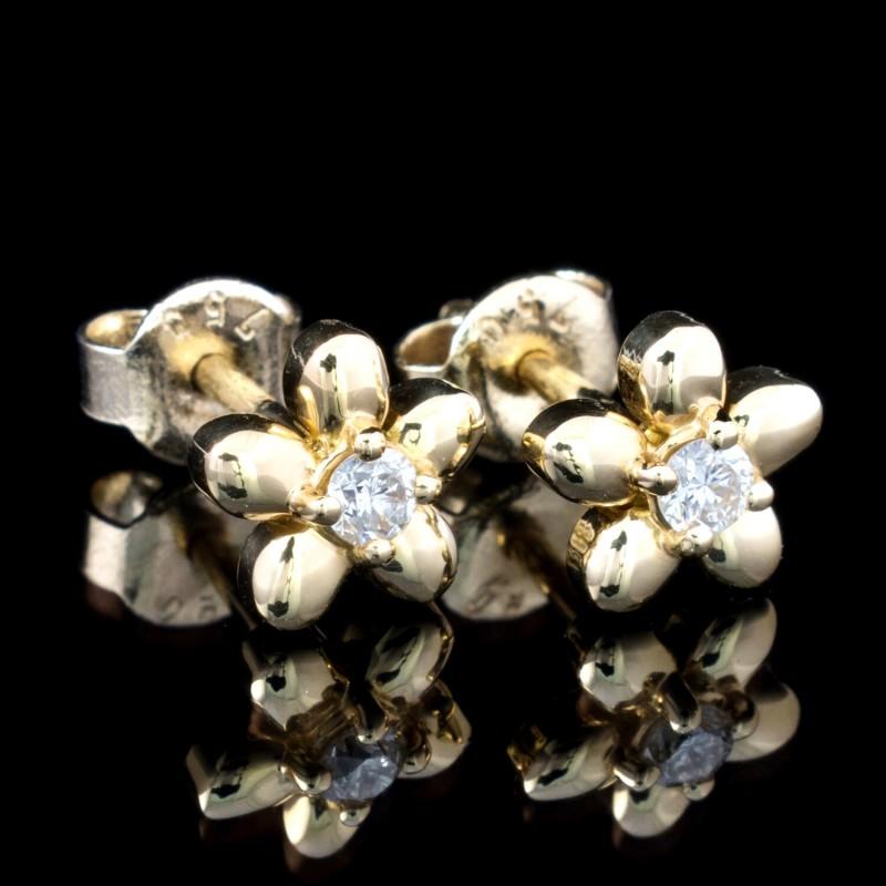 Обеци, 18k жълто злато, 2 диаманта с тегло 0.13ct.