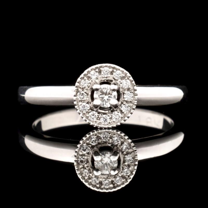 Пръстен 18К злато, 13 диаманта с тегло 0.13ct.
