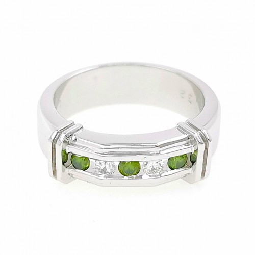 Ring for him, made from 14K gold and 5 white and green diamonds