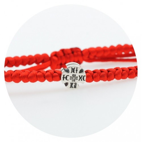 Bracelet with red thread and silver cross 925