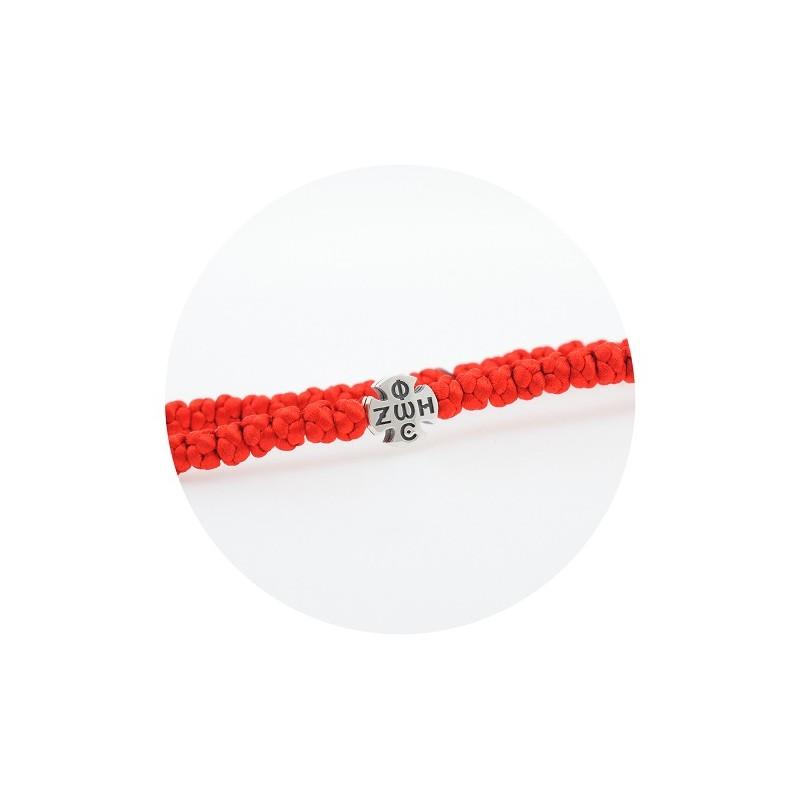 Гривна с червен конец и сребърен кръст 925