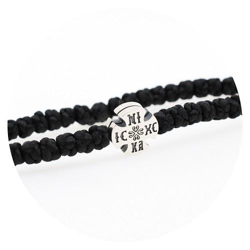 Гривна с черен конец и сребърен кръст 925