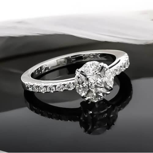 Пръстен 18К бяло злато с диаманти 0,74ct