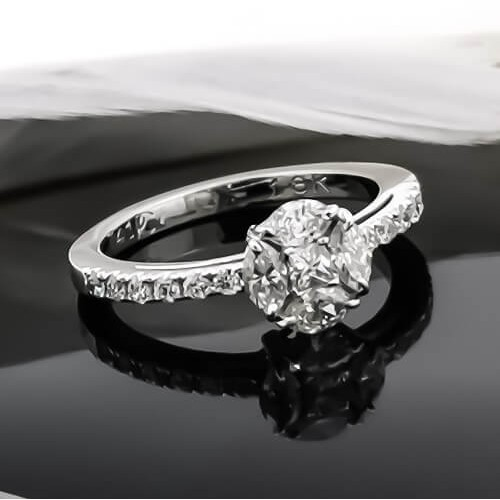 Ring 18k WG with diamonds 0.74ct
