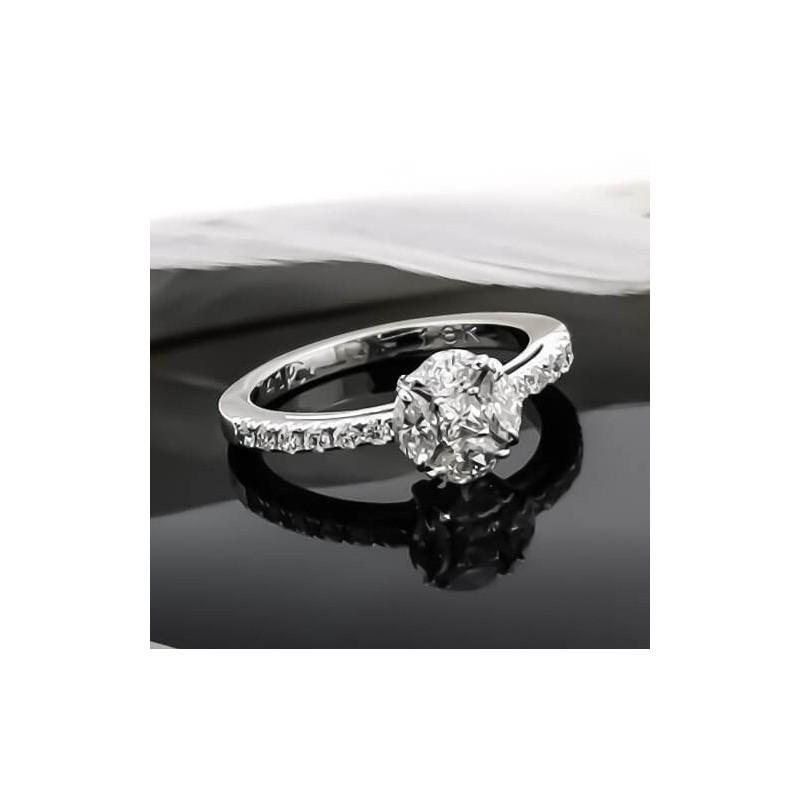 Пръстен ръчна изработка от 18К бяло злато с диаманти 0.74ct