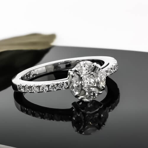 Handmade golden ring 18k WG with diamonds 0.74ct
