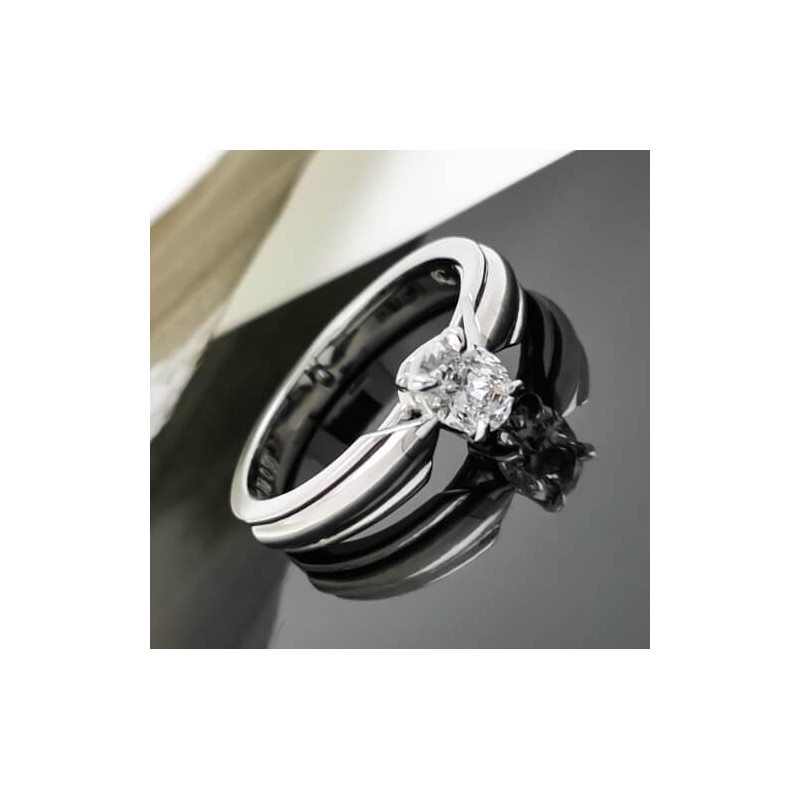 Годежен пръстен 18К с диамант 0.50ct овална шлифовка