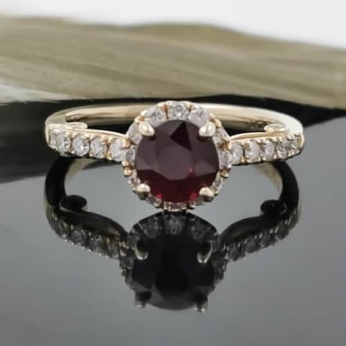 Пръстен 14К злато с рубин 1.07ct и диаманти 0.43 ct