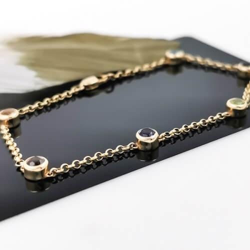 Bracelet, 14 kt with 6 color gems