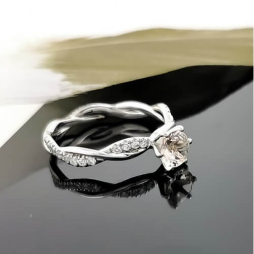 Годежен пръстен 14K Бяло Злато с Диаманти 0.31ct и Морганит