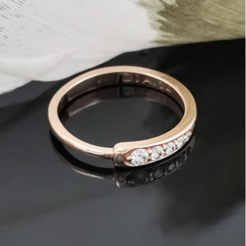 Годежен пръстен 14К злато, 5 диаманта с общо тегло 0.14ct.