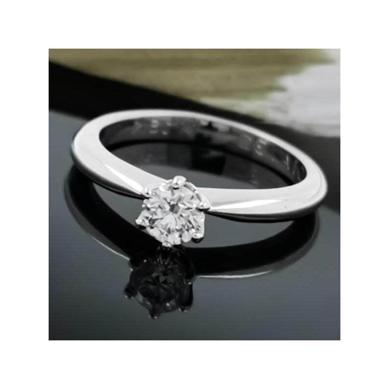 Годежен пръстен 18К злато, 1 диамант с тегло 0.30ct.