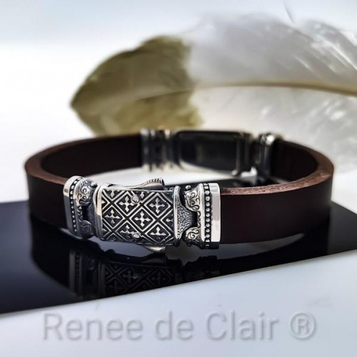 Leather bracelet with pure Gold bar 999,99 and silver 925