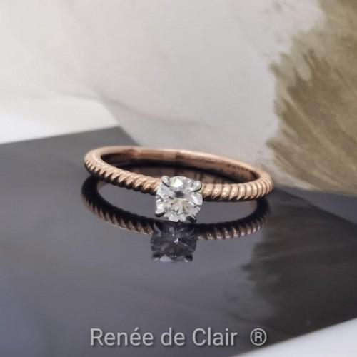 Годежен пръстен с 14К Розово злато и диамант 0,32ct