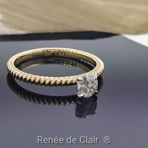 Годежен пръстен с 14К Жълто Злато и диамант 0,30ct
