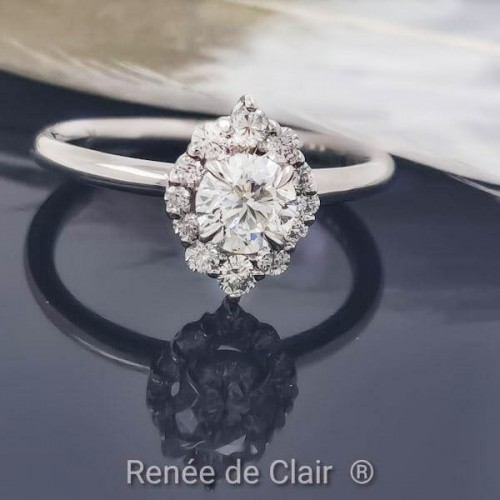 Engagement Ring 14K White Gold with Diamonds 0.73ct