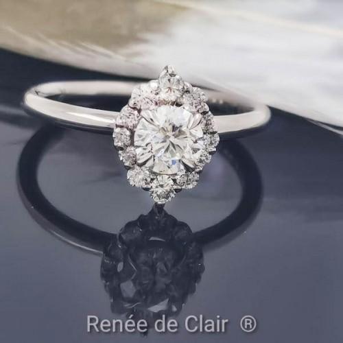 Годежен пръстен с 14К Бяло злато и диамант 0,73ct