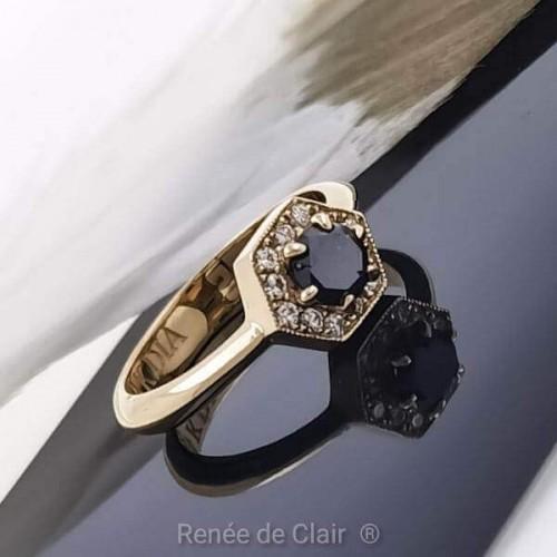 Пръстен 14К 3лато с черен диамант 0,36ct