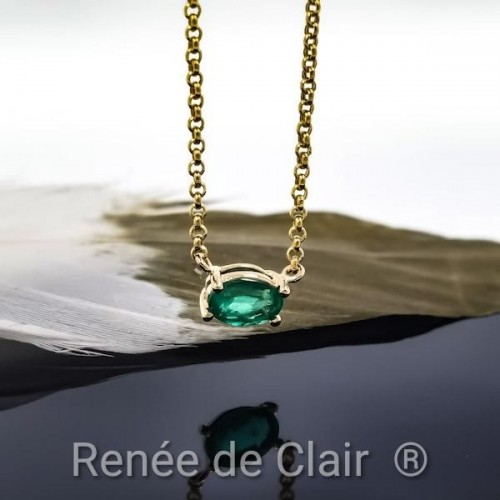 Necklace 14K Yellow Gold with Emerald 0.54ct