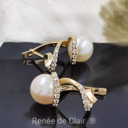 Earrings, 14K YG with 26 diamonds